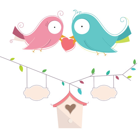 Illustration Of Two Cute Birds In Love Wedding Card