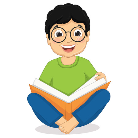 Illustration of Happy Boy Sitting While Reading Book