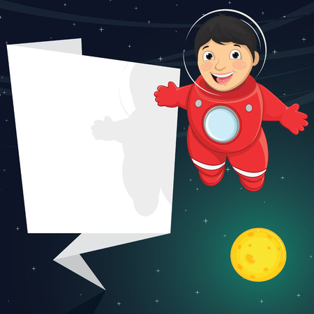 Illustration Of A Cute Astronaut With Origami Banner