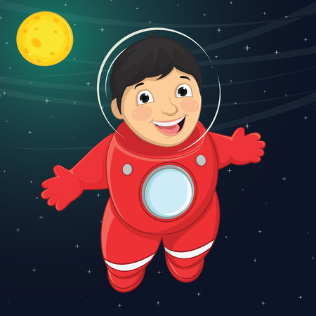 Illustration Of A Young Boy Astronaut Floating in Space Vector