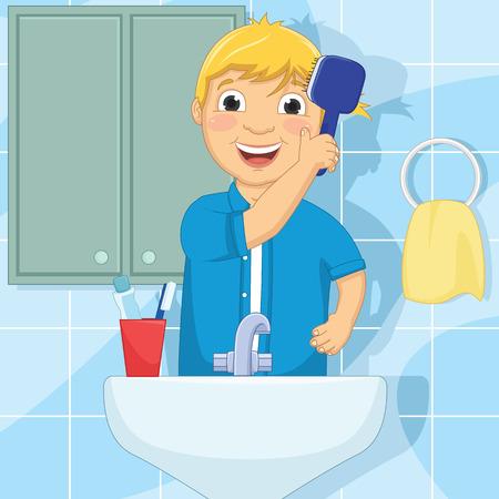 Little Boy Brushing Hair Illustration