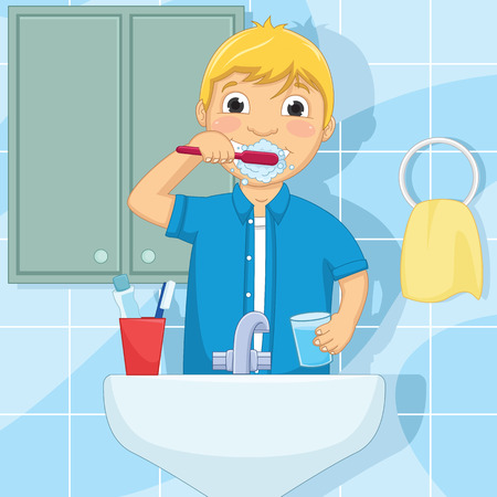 Little Boy Brushing Teeth Illustration Vector