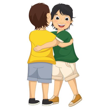 kids hugging: Illustration of Two Boys Hugging Each Other Illustration