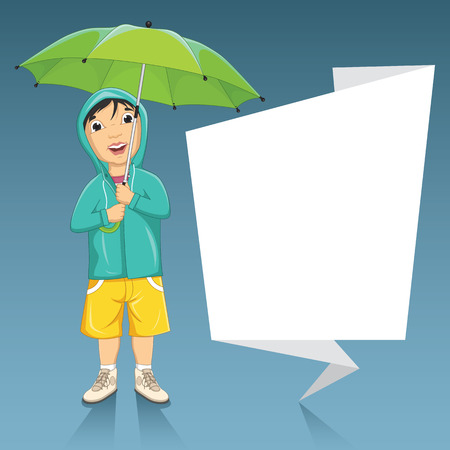 Illustration Of A Little Boy Holding Umbrella Next To An Origami Banner Illustration
