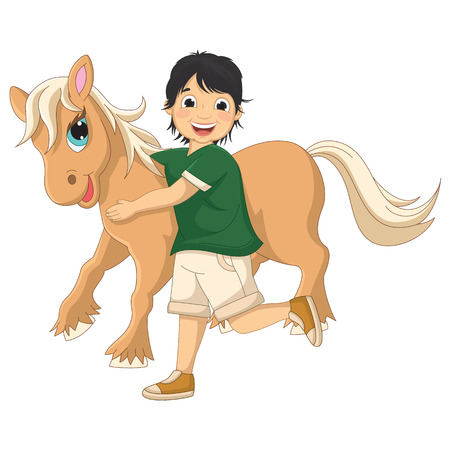 pony ride: Illustration Of A Little Boy Hugging Pony