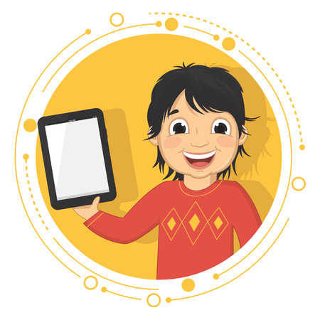 Illustration Of A Boy With A Tablet Vector