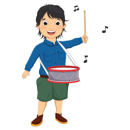 Illustration Of A Little Boy Playing Drum Vector
