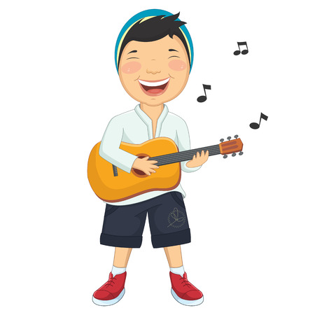 playing guitar: Illustration Of A Little Boy Playing Guitar Illustration