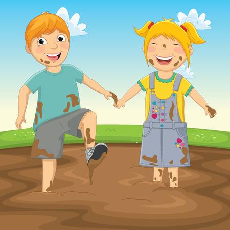 Illustratie van kinderen spelen in de modder Stock Illustratie