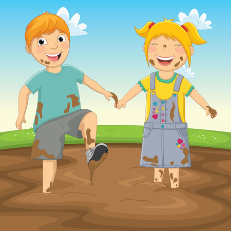 Illustration Of Kids Playing in Mud Vector