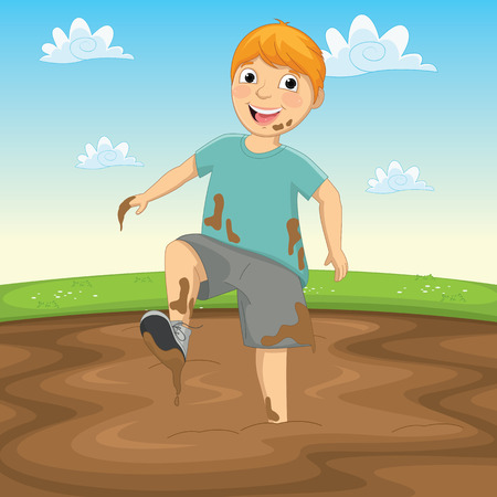 Illustration Of A Kid Playing in the Mud