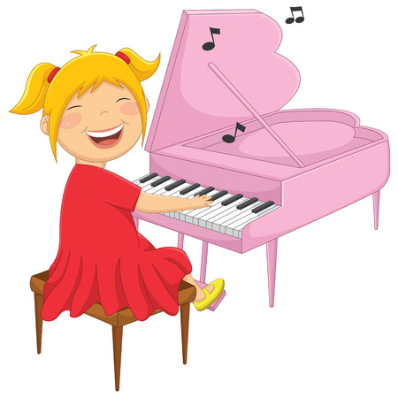 Illustration Of A Little Girl Playing Piano  イラスト・ベクター素材