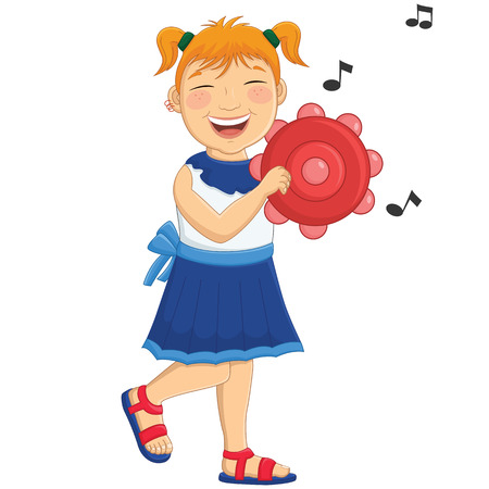 Illustration Of A Little Girl Playing Tambourine