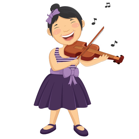 Illustration Of A Little Girl Playing Violin