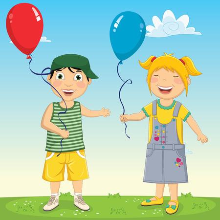 jardin de infantes: Ilustración de niños Globos Mantener