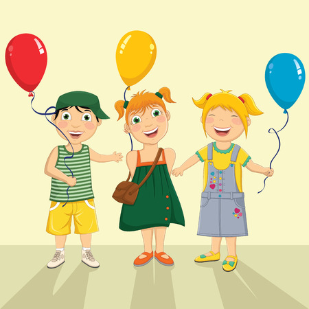 kinder garden: Illustration Of A Group Of Children Keeping Balloons