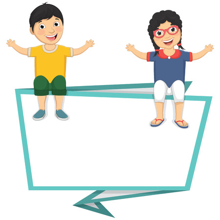 Illustration Of Cute Children Sitting On Blank Banner
