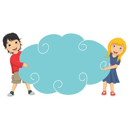 niños con pancarta: Ilustración de lindo Niños Holding Nube Vectores