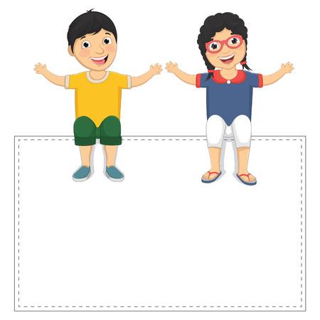 Illustration Of Cute Children Sitting On White Banner