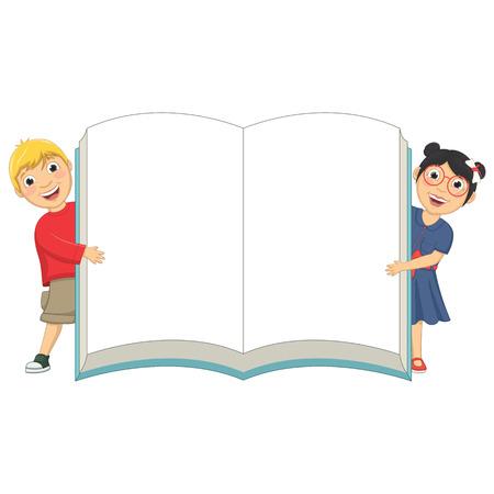 niños escribiendo: Ilustración de lindo Niños Holding libro