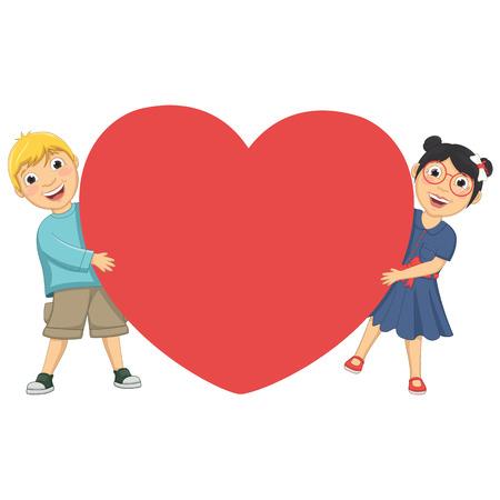 Illustration Of Cute Children Holding Heart