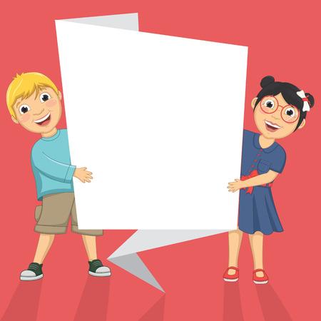 Illustration Of Cute Children Holding Origami Banner