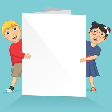 Illustration Of Cute Children Holding White Banner