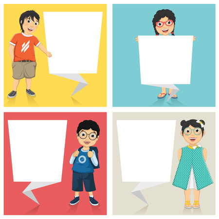 Illustration Of Cute Children With Flat Origami Banners