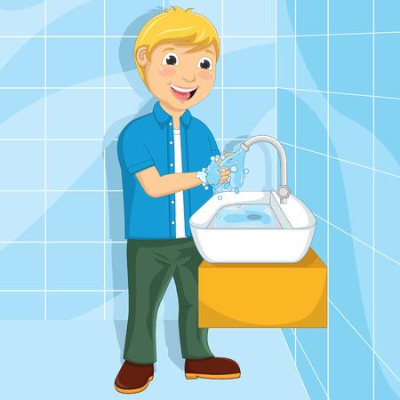 Illustratie van een kleine jongen zijn handen te wassen Stock Illustratie