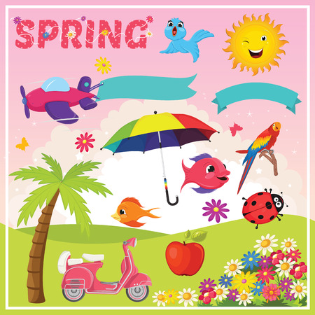 easter tree: Set of Spring Elements and Illustrations
