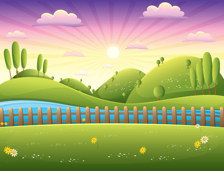 summer cartoon: Landscape Illustration