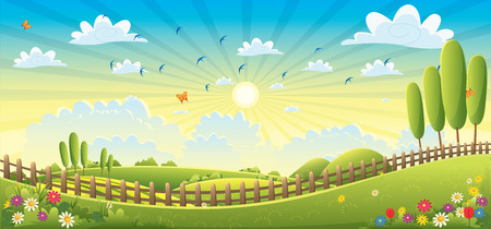 flat leaf: Landscape Scene Illustration