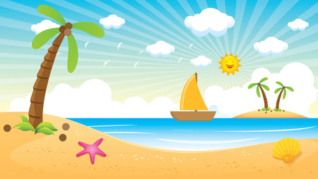 Beach and Palm Vector