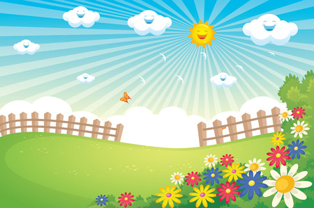 pring Landscape Vector Illustration