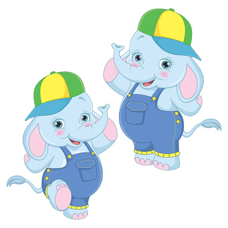 Vector Illustration Of Cartoon Elephants
