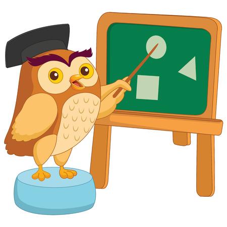 Vector Illustration Of Cartoon Owl Teacher