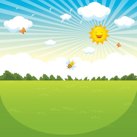 Vector Illustration Of Green Landscape Illustration