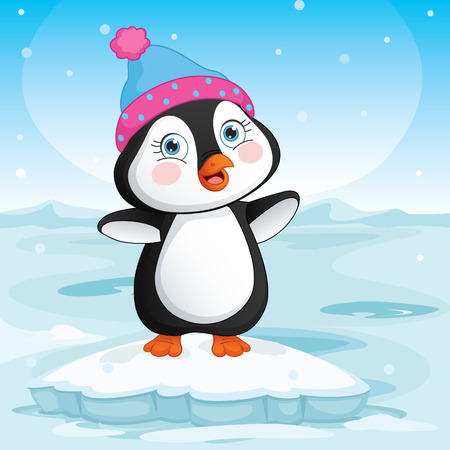 Vector Illustration Of Baby Penguin Standing On Ice