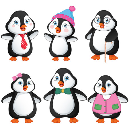 Vector Illustration Of Penguin Family Illustration