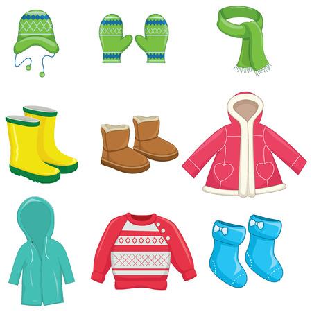 Ilustración vectorial de ropa de invierno