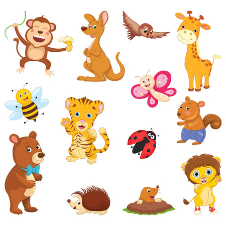 Vector Illustration Of A Cartoon Animals