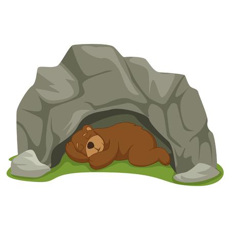 Vecteur, Illustration, dessin animé, dormir, ours, caverne