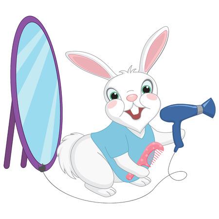 Vector Illustration of Cartoon Barber Rabbit