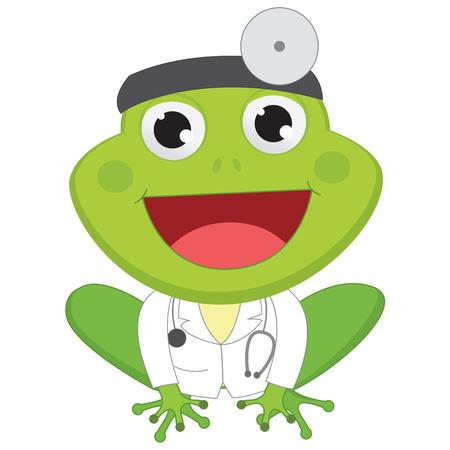 Vector Illustration of Cartoon Doctor Frog