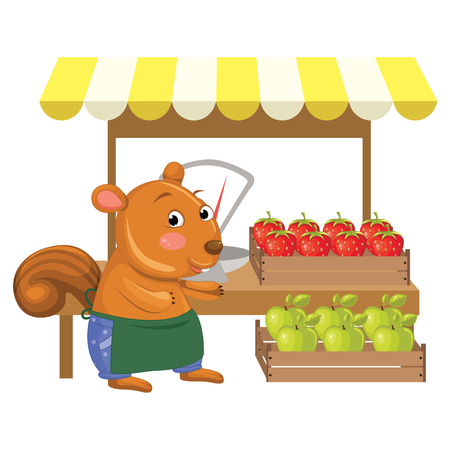 greengrocer: Vector Illustration of Cartoon Greengrocer Squirrel