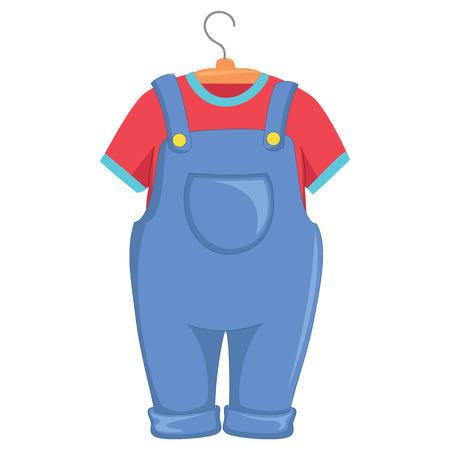 Vector Illustration of Kids Clothes Çizim