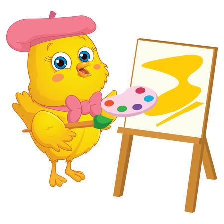 chick: Vector Illustration of Cartoon Painter Chick Illustration