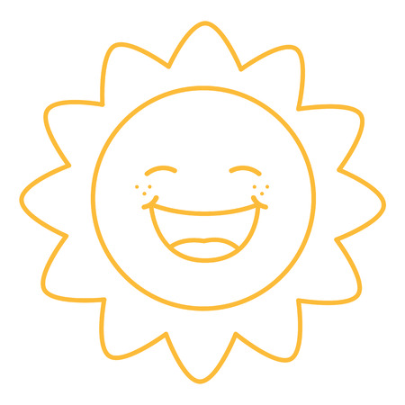 sun clipart: Coloring Page Illustration of Cartoon Sun