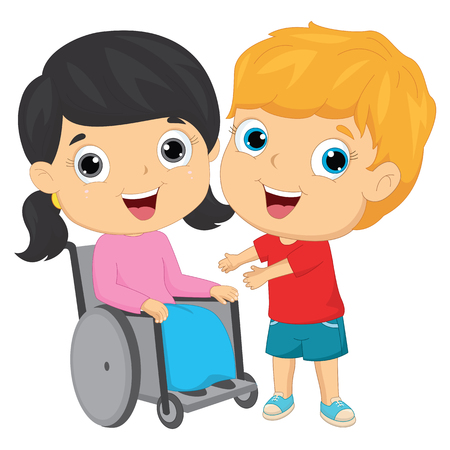 Vector Illustration Of A Kid Helping To His Friend
