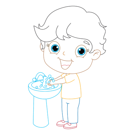 washing hands: Kid Washing Hands, Coloring Page Illustration